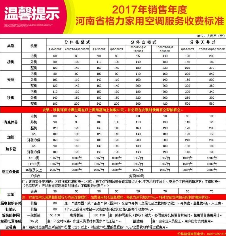 2017年销售年度河南省格力家用空调服务收费标准